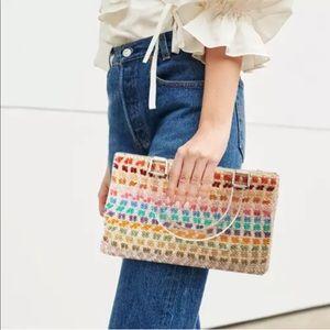 VTG Parisian Chic Rainbow Beaded Tote Bag Lucite